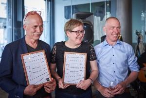 Alineas Læremiddelpris Uddeles Til Coding Pirates (modtages af Lis Zacho) og Mads Remvig. Fra Venstre: Mads Remvig, Lis Zacho og Cliff Hansen