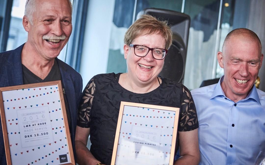 Alinea uddeler Lærermiddelprisen 2016 til Coding Pirates og Mads Remvig