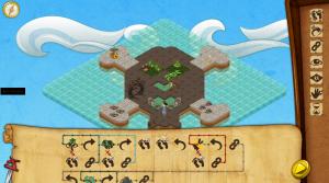 Sådan ser det ud inde i Coding Pirates-spillet når man koder skattekortsløsninger. Dette billede er taget fra en af de sidste kampagnebaner, så bare rolig ;-)