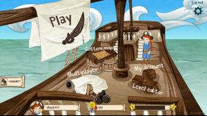 Menuen i Coding Pirates-spillet. Multiplayer er stadig ikke udviklet men det bliver den til slut november.